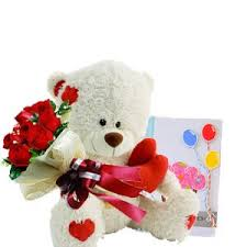 6 inches Teddy with 6 Red Roses bouquet Card