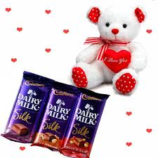 Three Silk chocolates with a 6 inches Teddy bear