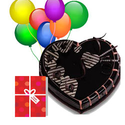 7 Air Filled Balloons 1 Kg Heart Chocolate Cake and Card