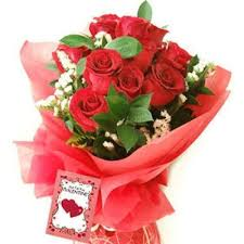 Bouquet of 12 red roses with Card