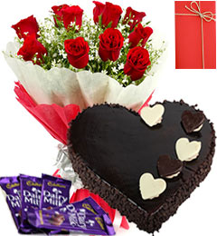 1 Kg heart dark chocolate Cake and 12 red roses with 4 Dairy milk chocolates Card