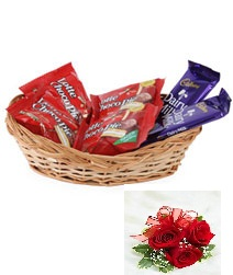 Small Chocolates Basket 5star Dairymilk Kitkat 3 roses