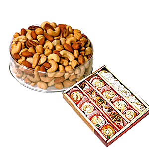 1/2 Kg Dry Fruits with 1/2 Kg Mix mithai