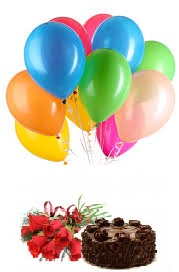 8 air filled Balloons with 1/2 Kg Chocolate Cake 6 Red Roses