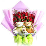 2 Teddies with 24 red roses
