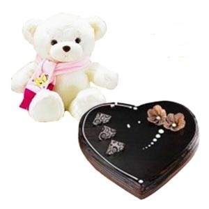 1 Kg chocolate heart Cake with teddy 6 inches