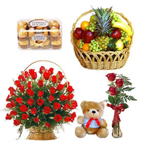 Fruits, teddy, 30 roses basket, 3 roses in a vase and chocolates
