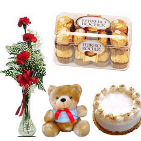 3 roses in a vase with 1 pound cake chocolates and teddy