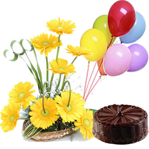 1 pound Cake, 3 balloons and 12 gerberas hand bouquet