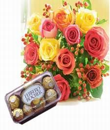 10 Mixed color roses with 16pcs chocolates and card