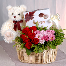 Chocolates +Roses flowers basket+ Teddy