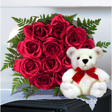 12 Red roses bunch with teddy