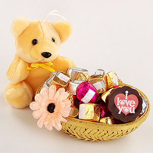 Mix chocolates basket with teddy
