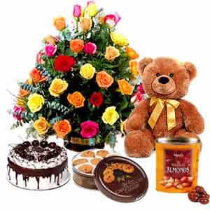 Basket 24 mix roses, 1/2  kg cake, teddy, cookies,