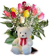 A Bouquet of 8 mix roses and 6 inches Teddy bear