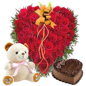50 Heart shaped roses, 1 kg cake, teddy