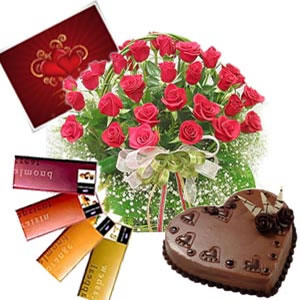 24 red roses basket, 4 temptation chocolates, 1 kg Cake, card