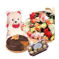 roses, teddy, 1/2 kg cake,16 pieces chocolates