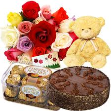 roses, teddy, 1/2 kg cake,16 packs ferrero rocher