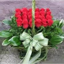 Modern arrangement of red roses