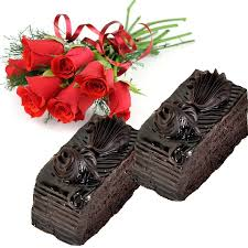 12 red roses with 2 Chocolate pastries