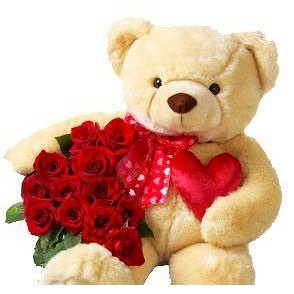 Teddy (12inches)  with with12 red roses and heart