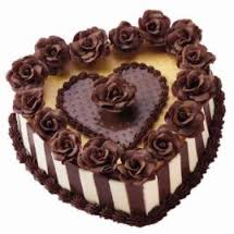 Chocolate Heart Shaped Cake 1 kg with icing of chocolate roses