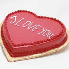 Chocolate Heart Shaped Cake 1 kg Icing I LOVE YOU