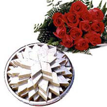 1kg  Kaju roll and bouquet of 10 Red roses