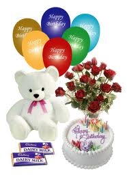 Balloons, teddy bear, roses, cake and chocolates