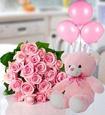 PINK Teddy 12 Pink roses 3 air filled Pink balloons