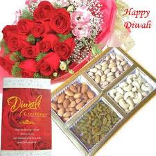 Dry fruit, roses and greeting card