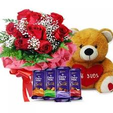 4 silk chocolates, 6 roses and teddy