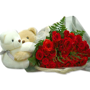 2 Teddies with 12 red roses