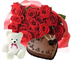 20 red roses bouquet, 1 kg heart shape cake and teddy