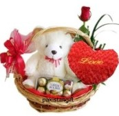 Valentine Heart(3 to 4 inches) 1 Red rose 16 Ferrero Teddy all gifts in same basket